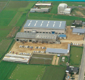 Photo of new main office building and factory (aerial view)