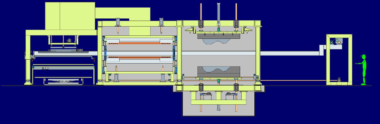 自動車内装成形プレス システム例